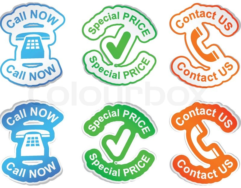 Call now special price contact us vector stickers stock vector colourbox