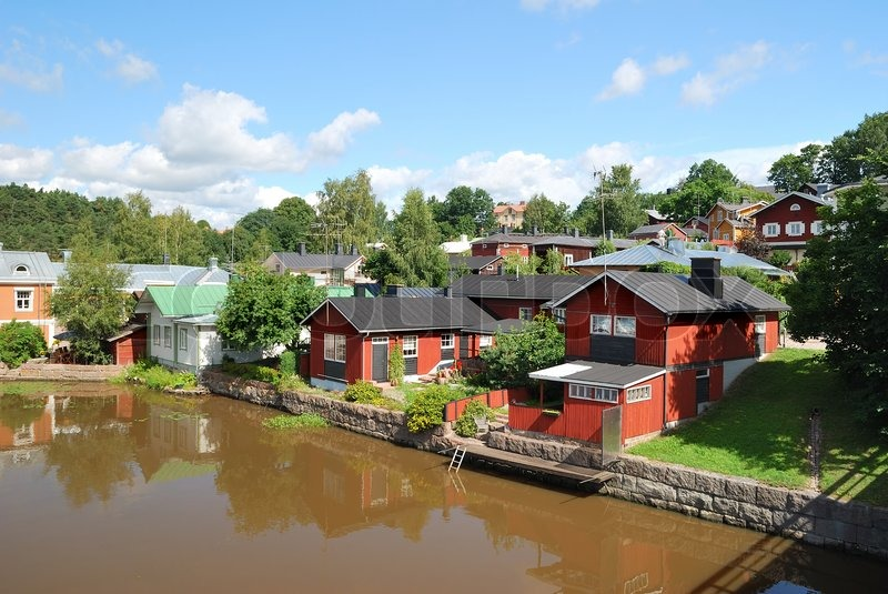 Beautiful Cozy Wooden Houses Near The River Porvoo Stock Photo - Cozy wooden house