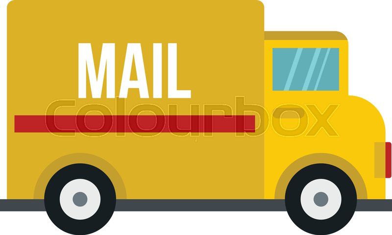 Yellow mail truck icon flat isolated on white background vector illustration | Stock ...  Yellow mail tru...