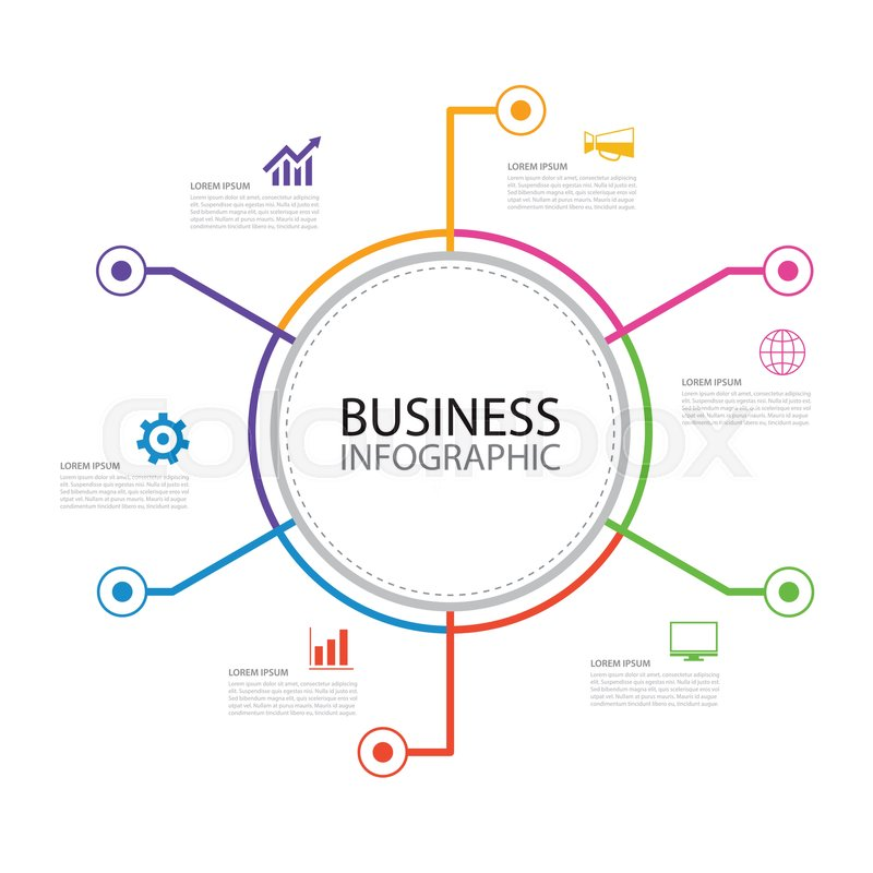 6 Thin Line Minimal Arrow Business Infographic Circle Template Can Be Used For Workflow Layout Diagram Number Options Web Design Timeline
