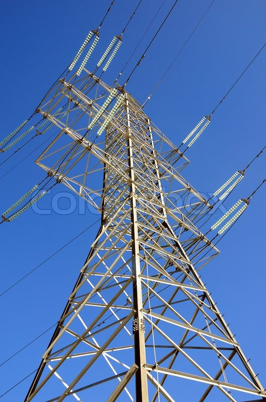 Electricity transfer on wires, stock photo