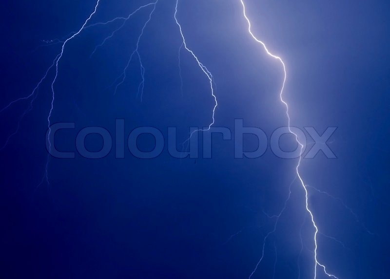 Lightning strike in the darkness close up, stock photo