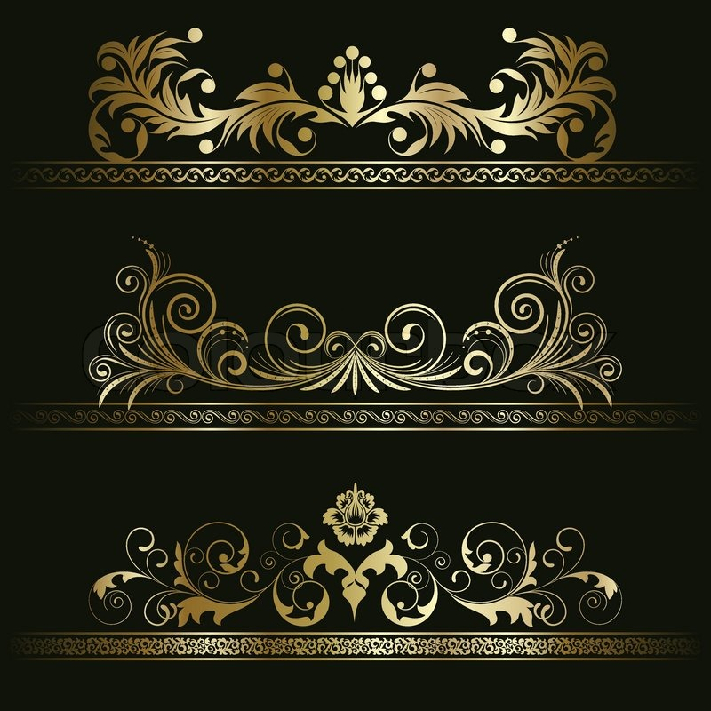 set from gold retro frames on the black floral background