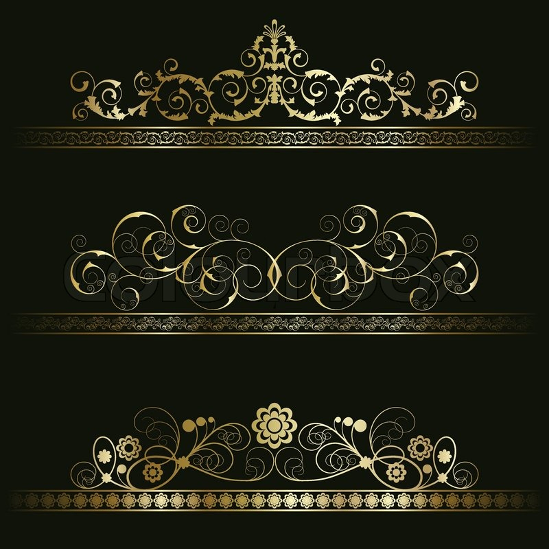 set from gold retro frames on the stock vector