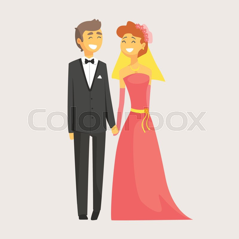 Happy Wedding Couple Holding Hands Stock Vector Colourbox
