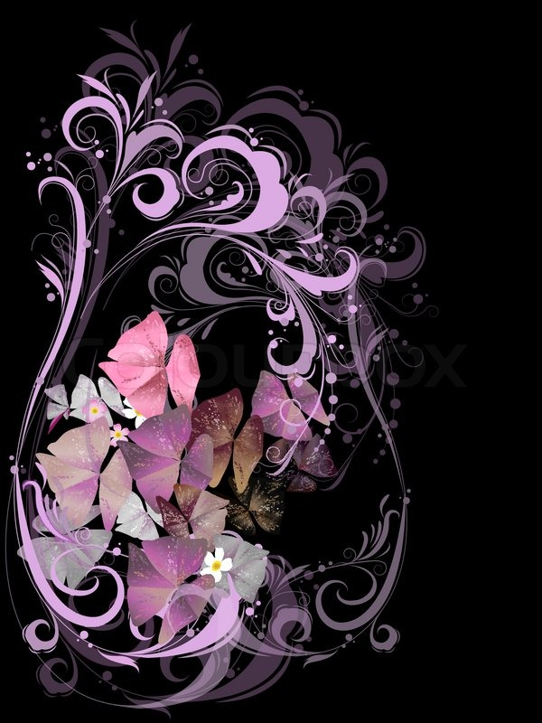 Bouquet of flowers in pink on a black background | Stock ...