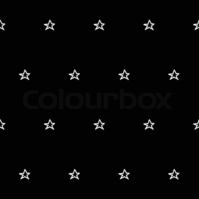 Abstract Doodle Star Pattern With Hand Drawn Stars Cute Vector Black And White Seamless Monochrome For Fabric Wallpapers