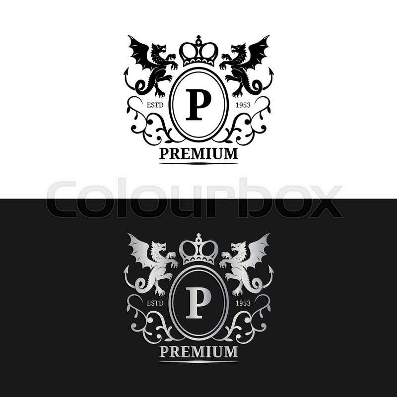 Vector monogram logo template luxury letter design graceful graceful vintage character with dragons symbols illustration used for hotel restaurant boutique jewellery invitation business card etc stock vector reheart Images