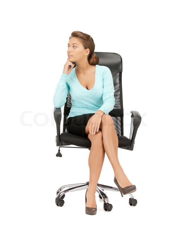 Picture Of Young Businesswoman Sitting In Chair Stock