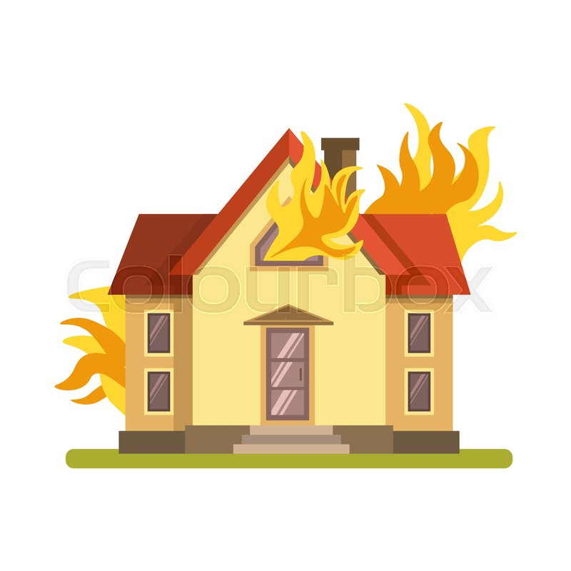 Blazing Double Decker House With Red Stock Vector