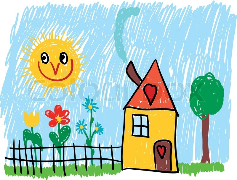 Vector Home With Flowers Garden And Tree Stock