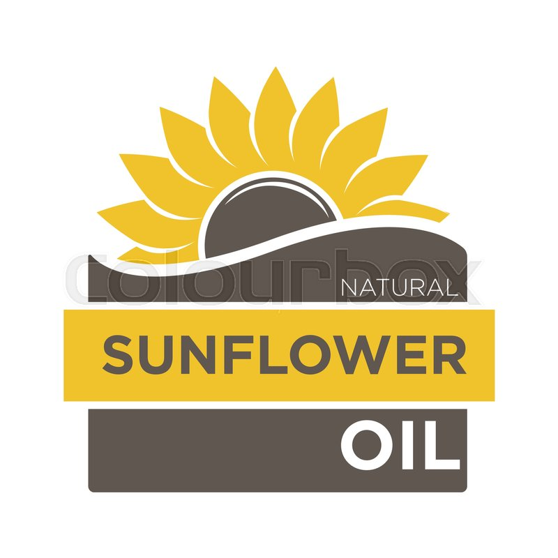 Color Emblem Of Natural Sunflower Oil With Yellow Helianthus And