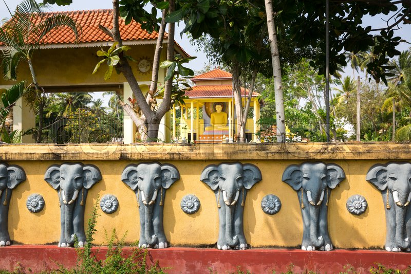 Sri Lanka attractions, old buddha temple, sacred animal. Unesco heritage. Asia culture, bubbhism religion, stock photo