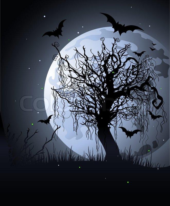 Creepy tree at night halloween background stock vector for Creepy trees for halloween