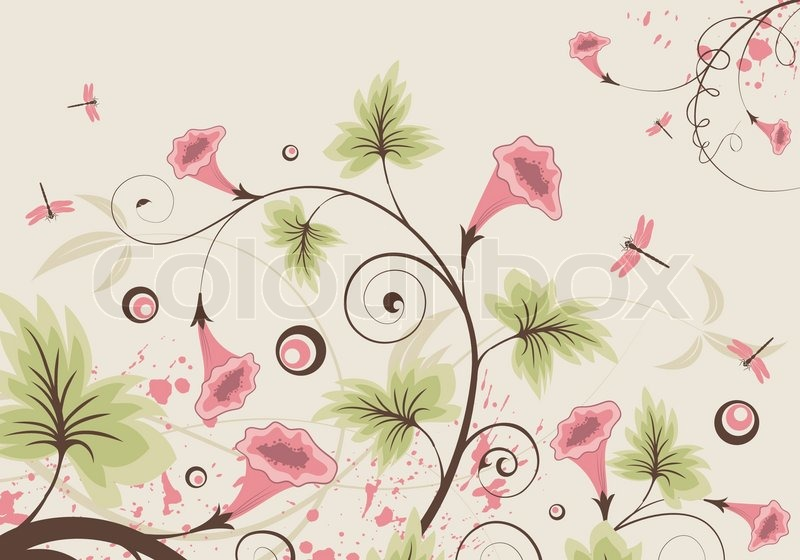 flower background with dragonfly element for design