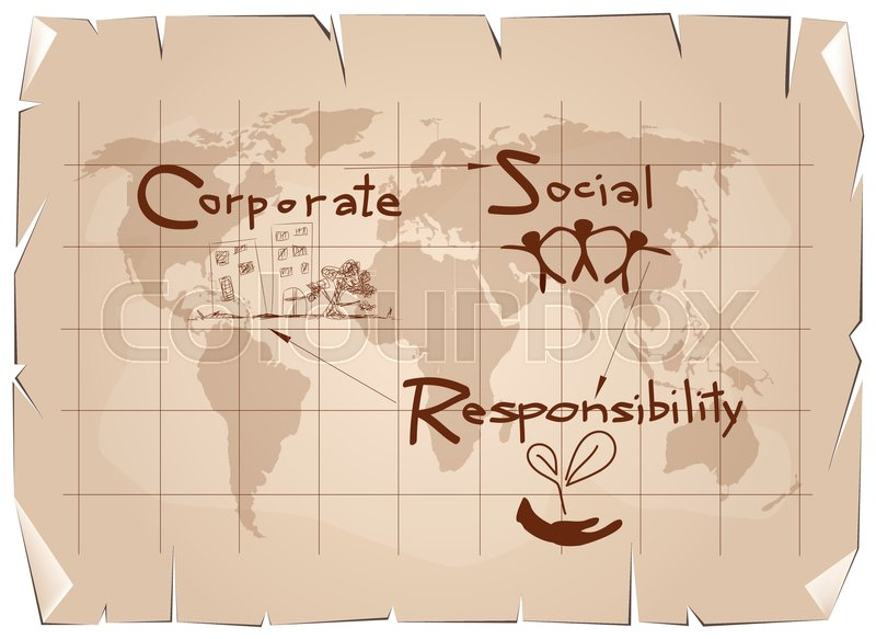 Business Concepts World Environment With CSR Abbreviation Or Corporate Social Responsibility Achieve Notes On Old Antique Vintage Grunge Paper Texture