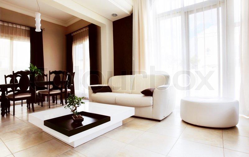 luxus-wohnung mit stilvollen modernen innenarchitektur | stockfoto, Innenarchitektur ideen