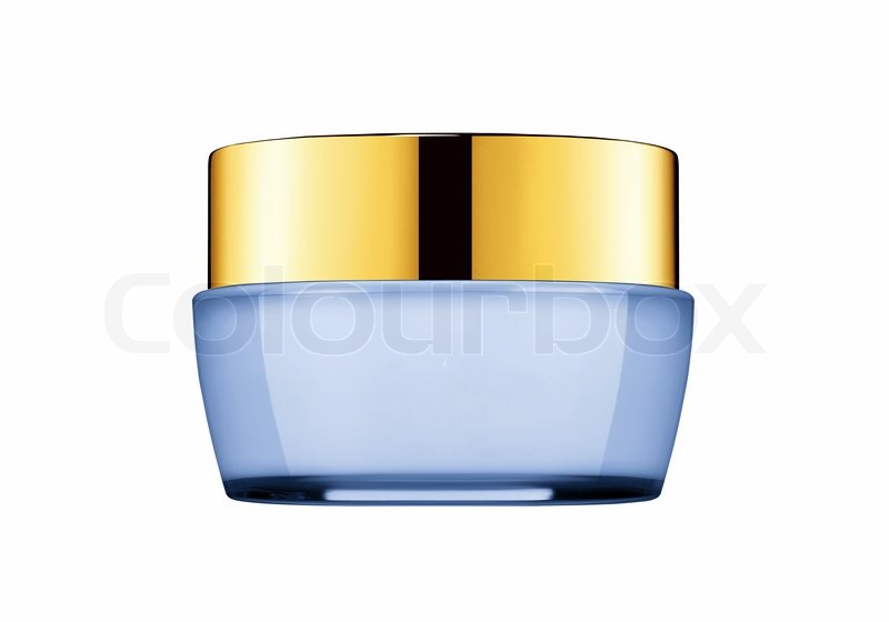 Tub with a face cream with a blue cover on a white background ...