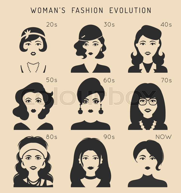100 Years Of Beauty Female Fashion Stock Vector
