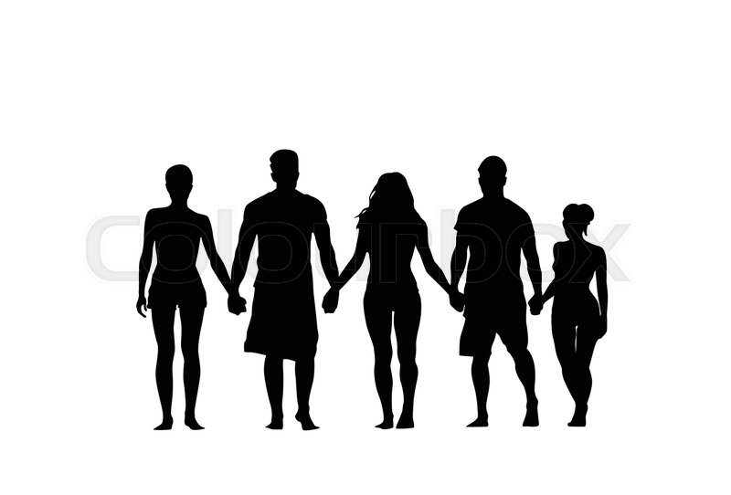 silhouette people group stand holding hands man and woman full