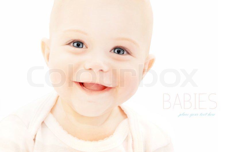 Happy Baby Laughing, Closeup On Cute Little Child Face