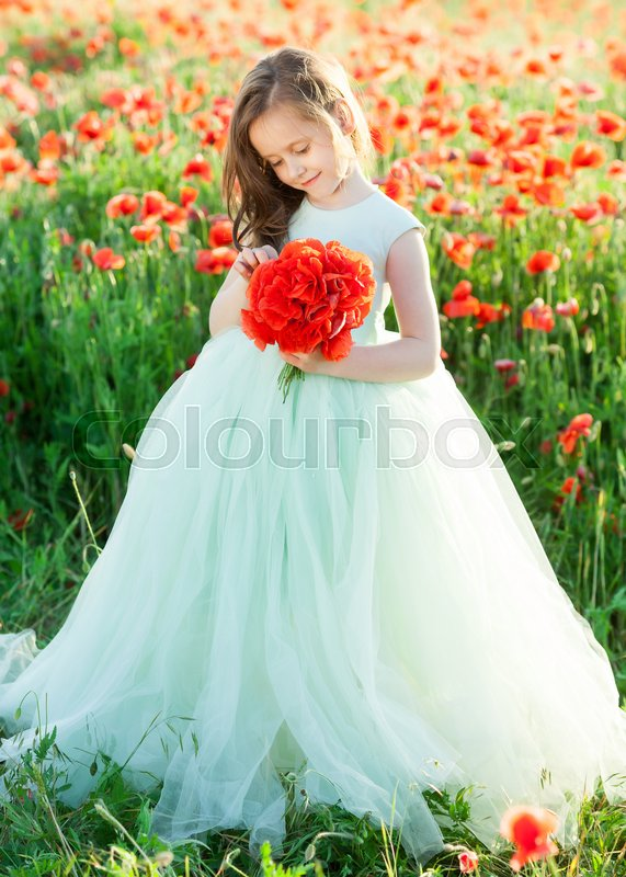 Girl model, poppies, childhood, fashion, children, nature and summer ...