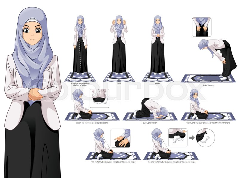Complete Set Of Muslim Woman Prayer Standing Bowing Sitting And