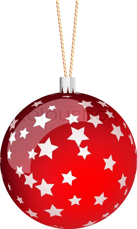 Red christmas ball with stars | Stock Vector | Colourbox