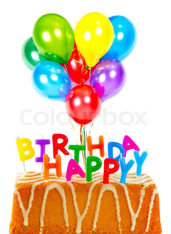 Happy birthday birthday cake with candles and colorful balloons card