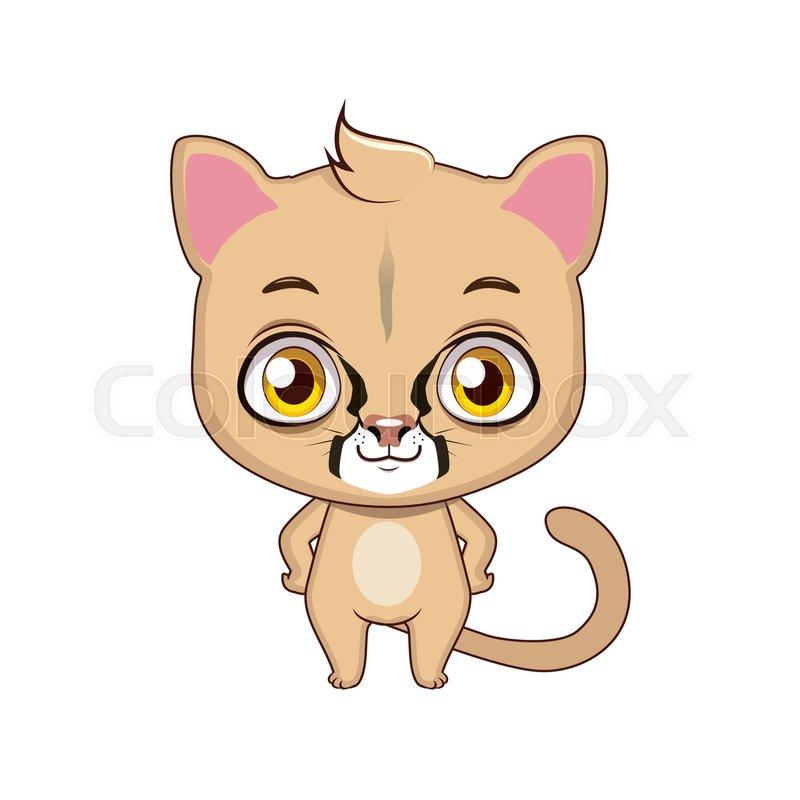 cute stylized cartoon mountain lion illustration stock vector rh colourbox com cartoon mountain lion images Cartoon Bobcat