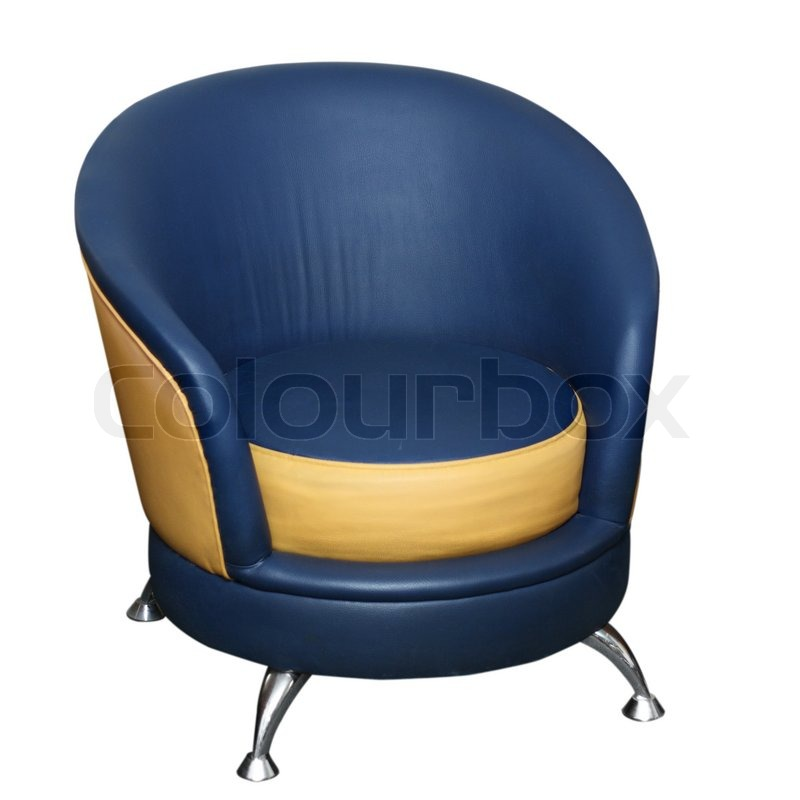 Soft Yellow Dark Blue Armchair Separately On A White Background | Stock  Photo | Colourbox