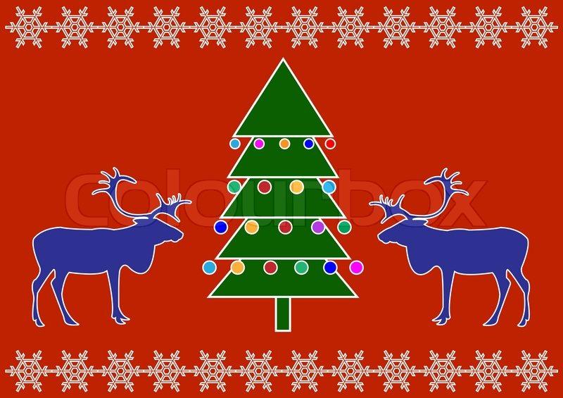 blau rentier mit ornamentalen weihnachtsbaum vektor. Black Bedroom Furniture Sets. Home Design Ideas