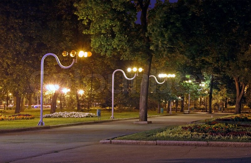 Evening Alley In Central Park Of Harkov City Ukraine