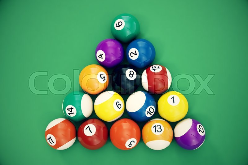 3D Illustration Billiard Balls Arranged In A Triangle Viewed From Above,  Top View. Snooker, Pool Game, Billiard Concept | Stock Photo | Colourbox