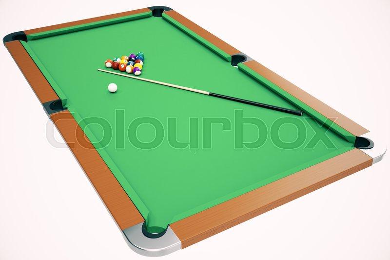 3D illustration Billiard balls in a green pool table, pool billiard game, Billiard concept, stock photo