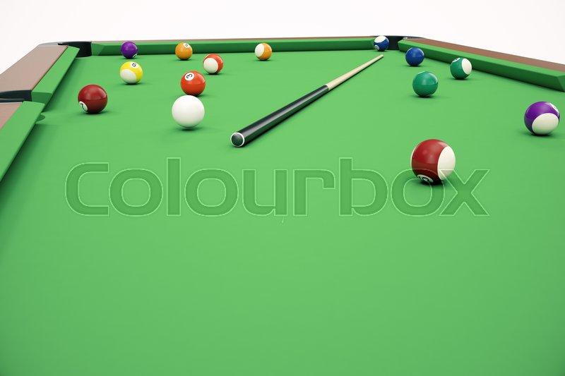 3D illustration pool billiard game. American pool billiard. Pool billiard game, Billiard sport concept, stock photo