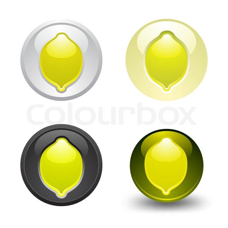Lemon button set web 20 icons design element stock for Lemon button