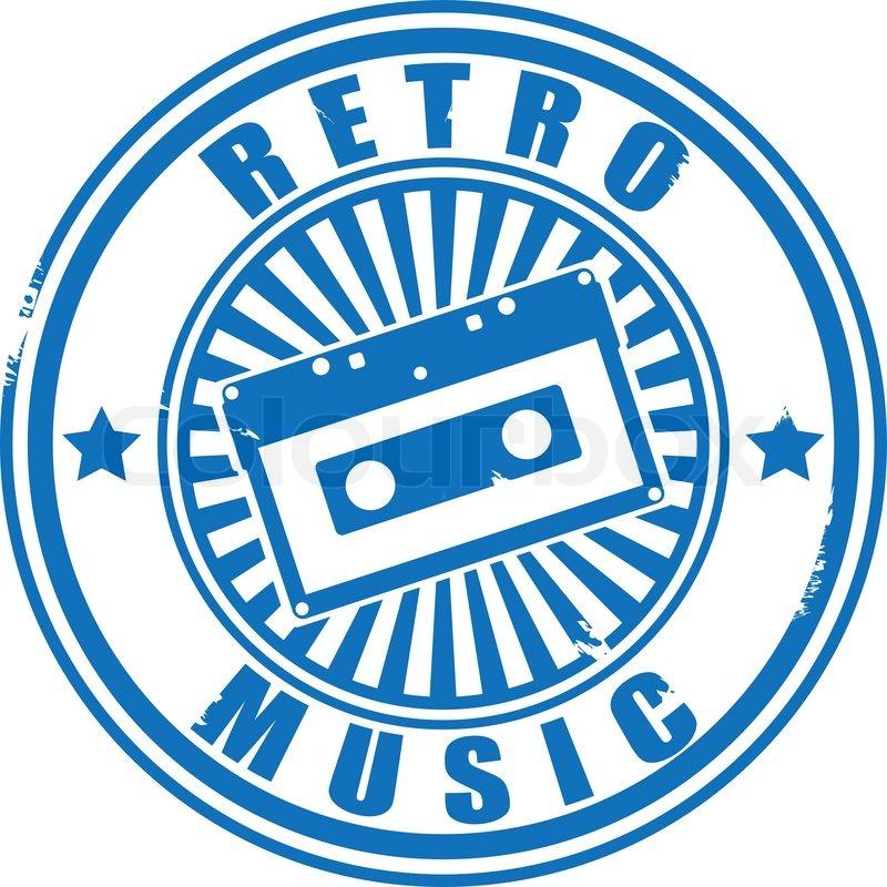 Stamp Audiocassette Retro Music Vector