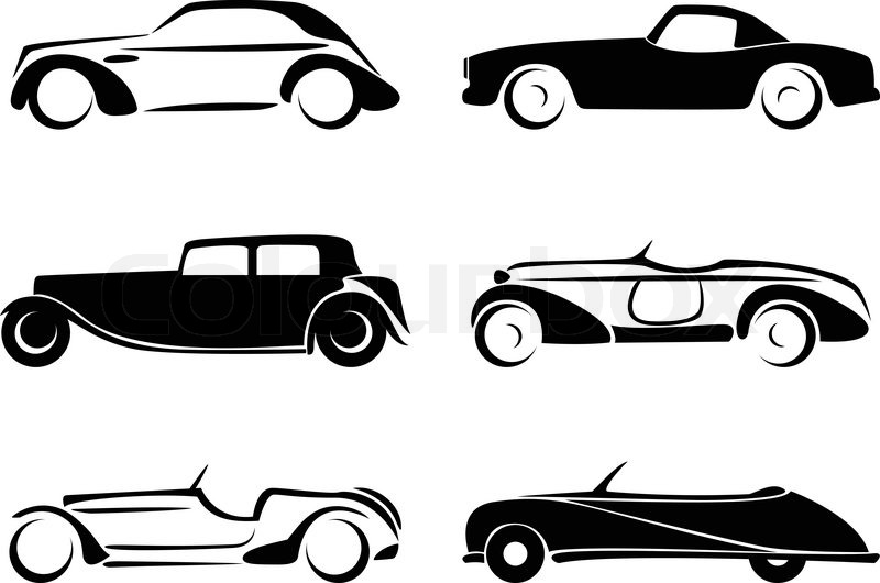 Old Cars Silhouettes Set Vector Stock Vector Colourbox