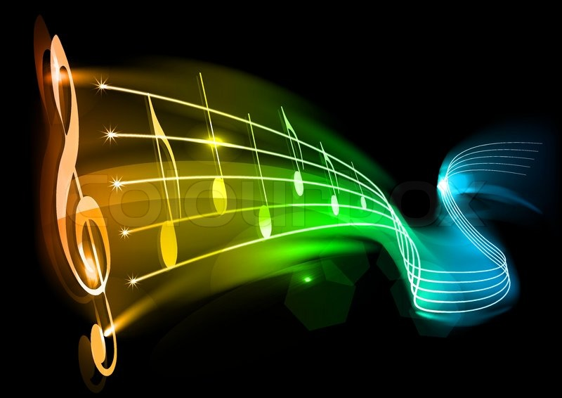 Rainbow Music Notes Background Hd Wallpaper Background Images: Music Background With Color Note On The Black