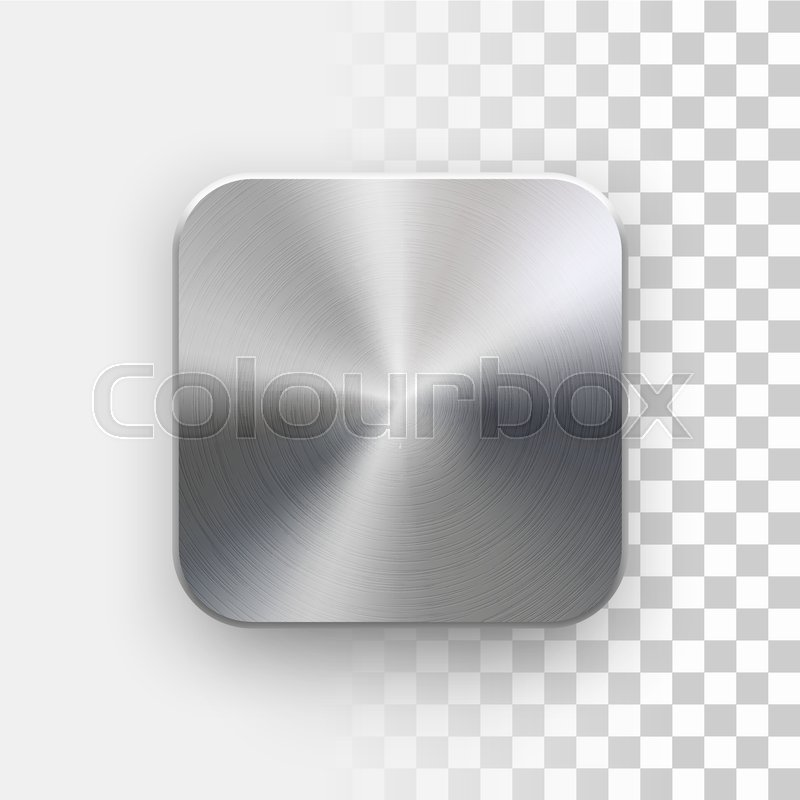 Metal blank app icon, technology button template with brushed ...