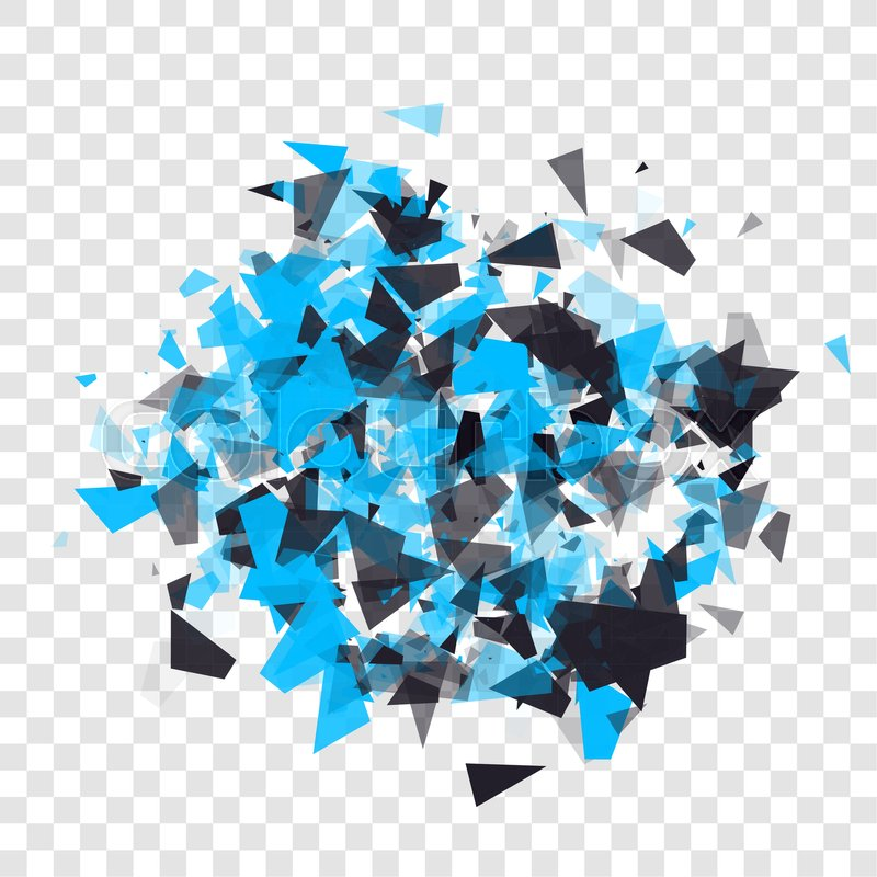 Abstract triangles particles with transparent shadows