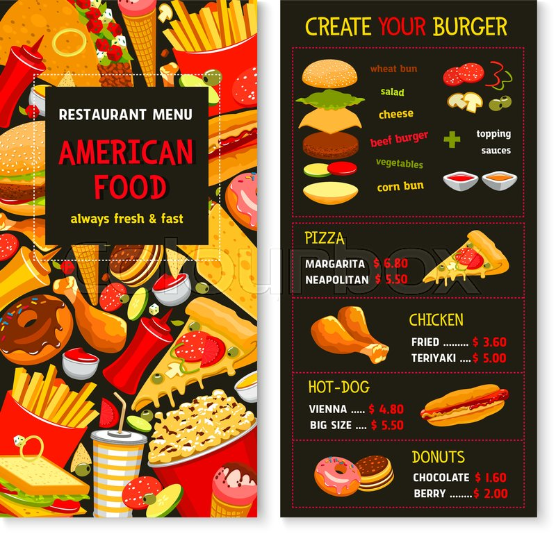 sandwich shop menu template - fast food restaurant vector menu template price for