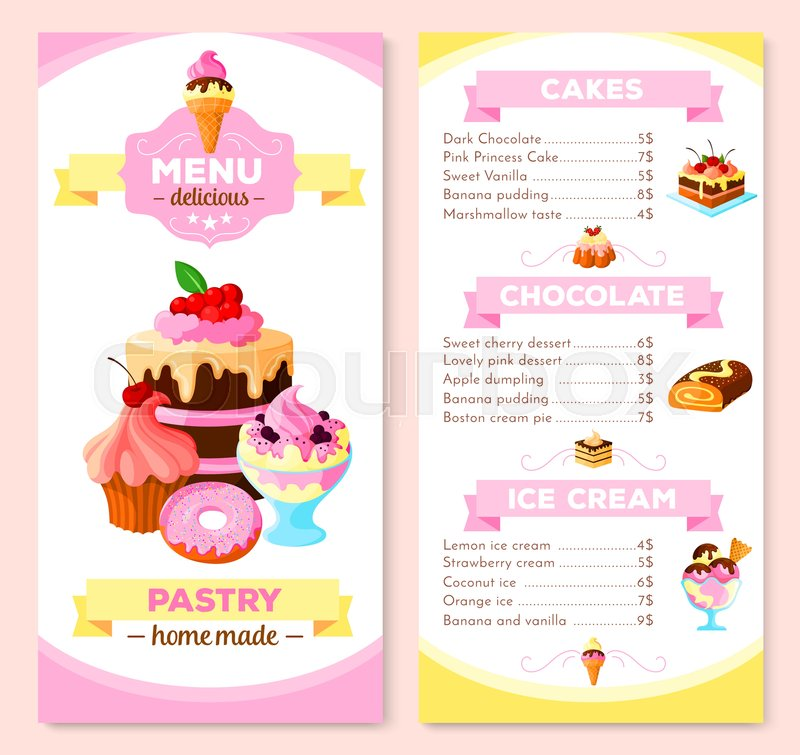 pastry and homemade dessert cakes menu template vector price list