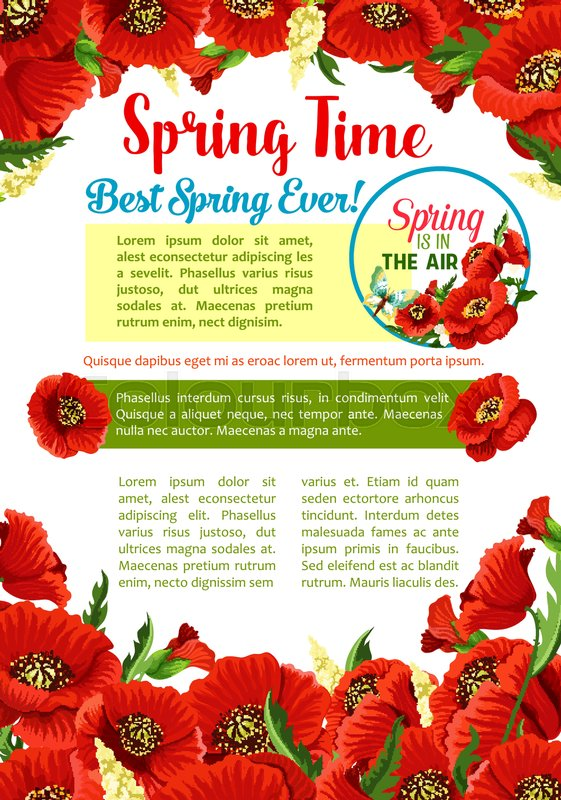 Spring season flower greeting poster template red flowers of poppy spring season flower greeting poster template red flowers of poppy with green leaf and bud floral frame with text layout in center for springtime holidays mightylinksfo