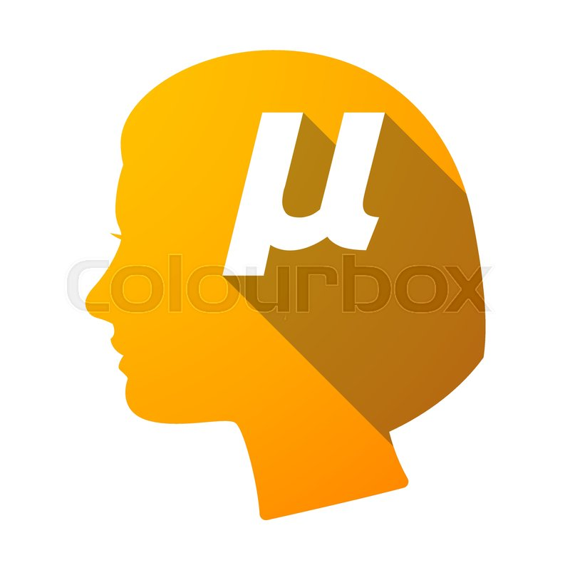 Illustration Of An Isolated Female Head With A Micro Sign Mu Greek
