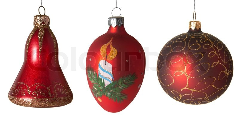 Collection of New Year's - Christmas tree toys, stock photo