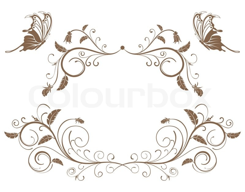 Collect flower border with butterfly, element for design ...