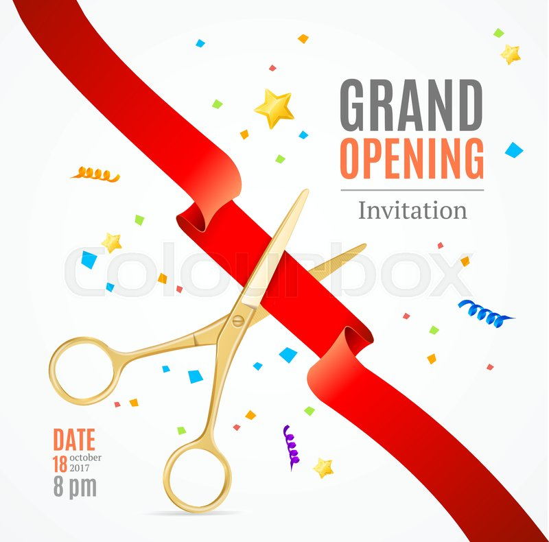 Grand opening invitation card on a white background witch gold grand opening invitation card on a white background witch gold scissor cut red tape presentation concept and swirl star vector illustration vector stopboris Images
