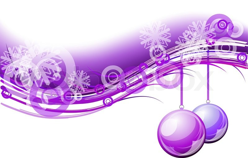 Purple Christmas Background With Balls Stock Vector